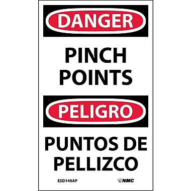 Labels - Danger, Pinch Point Bilingual, 5X3, Adhesive Vinyl, 5/Pk