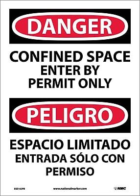 Danger, Confined Space Enter By Permit (Bilingual), 14X10, Adhesive Vinyl