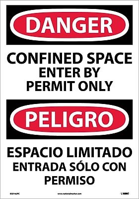 Danger, Confined Space Enter By Permit (Bilingual), 20X14, Adhesive Vinyl