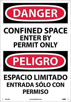 Danger, Confined Space Enter By Permit (Bilingual), 20X14, Rigid Plastic