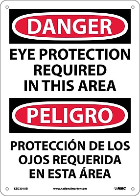 Danger, Eye Protection In This Area Bilingual, 14X10, .040 Aluminum