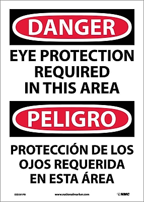 Danger, Eye Protection In This Area Bilingual, 14X10, Adhesive Vinyl
