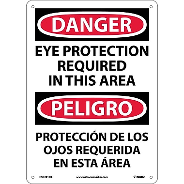 Danger, Eye Protection In This Area Bilingual, 14X10, Rigid Plastic