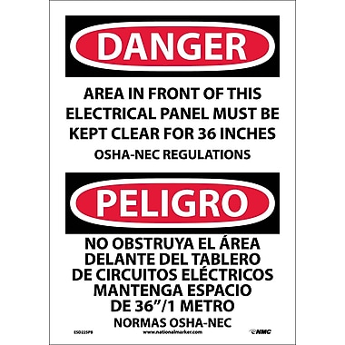 Danger, Area In Front Of This Electrical Panel. . . (Bilingual), 14X10, Adhesive Vinyl