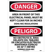 Danger, Area In Front Of This Electrical Panel. . . (Bilingual), 20X14, Adhesive Vinyl