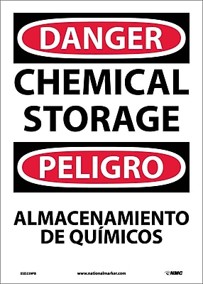 Danger, Chemical Storage Bilingual, 14X10, Adhesive Vinyl