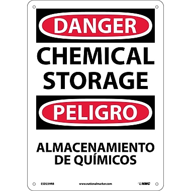 Danger, Chemical Storage Bilingual, 14X10, Rigid Plastic