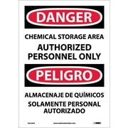 Danger, Chemical Storage Area Authorized Personnel Only (Bilingual), 14X10, Adhesive Vinyl