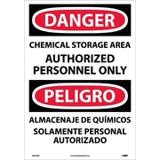 Danger, Chemical Storage Area Authorized Personnel Only (Bilingual), 20X14, Adhesive Vinyl