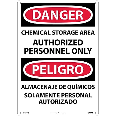 Danger, Chemical Storage Area Authorized Personnel Only (Bilingual), 20X14, Rigid Plastic