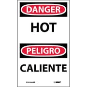 Labels - Danger, Hot Bilingual, 5X3, Adhesive Vinyl, 5/Pk