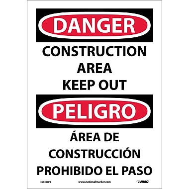Danger, Construction Area Keep Out (Bilingual), 14X10, Adhesive Vinyl