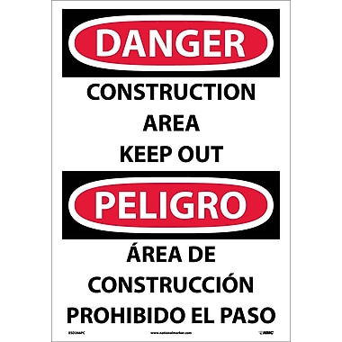 Danger, Construction Area Keep Out (Bilingual), 20X14, Adhesive Vinyl