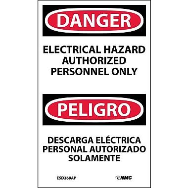 Labels - Danger, Electrical Hazard Authorized Personnel Only Bilingual, 5X3, Adhesive Vinyl, 5/Pk