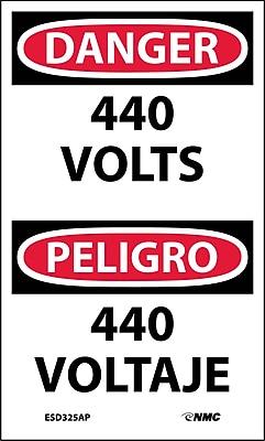 Labels - Danger, 440 Volts Bilingual, 5X3, Adhesive Vinyl, 5/Pk