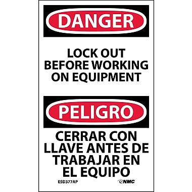 Labels - Danger, Lockout Before Working On Equipment Bilingual, 5X3, Adhesive Vinyl, 5/Pk