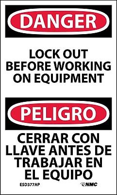 Labels - Danger, Lockout Before Working On Equipment Bilingual, 5X3, Adhesive Vinyl, 5/Pk