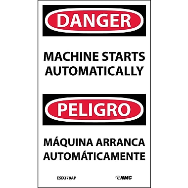 Labels - Danger, Machine Starts Automatically Bilingual, 5X3, Adhesive Vinyl, 5/Pk