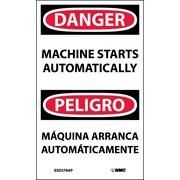 Labels - Danger, Machine Starts Automatically Bilingual, 5X3, Adhesive Vinyl, 5/Pk