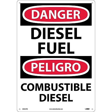 Danger, Diesel Fuel, Bilingual, 20 X 14, Rigid Plastic