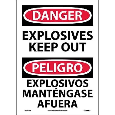 Danger, Explosives Keep Out Bilingual, 14X10, Adhesive Vinyl