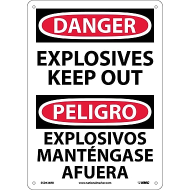 Danger, Explosives Keep Out Bilingual, 14X10, Rigid Plastic