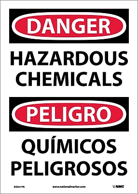 Danger, Hazardous Chemicals Bilingual, 14X10, Adhesive Vinyl