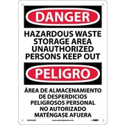 Danger, Hazardous Waste Storage Area Keep Out Bilingual, 14X10, .040 Aluminum