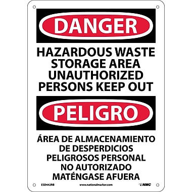 Danger, Hazardous Waste Storage Area Keep Out Bilingual, 14X10, Rigid Plastic
