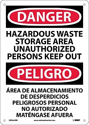 Danger, Hazardous Waste Storage Area Keep Out Bilingual, 14X10, Rigid Plastic