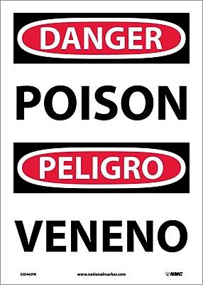 Danger, Poison Bilingual, 14X10, Adhesive Vinyl
