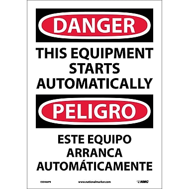 Danger, This Equipment Starts Automatically Bilingual, 14X10, Adhesive Vinyl