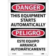 Danger, This Equipment Starts Automatically Bilingual, 14X10, Rigid Plastic