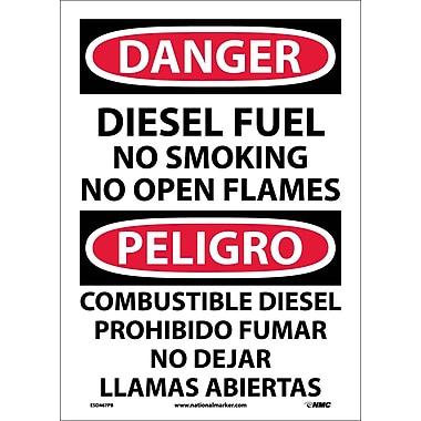 Danger, Diesel Fuel No Smoking No Open Flames, Bilingual, 14X10, Adhesive Vinyl