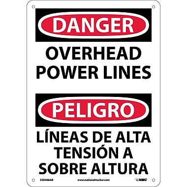 Danger, Overhead Power Lines, Bilingual, 14X10, .040 Aluminum