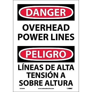 Danger, Overhead Power Lines, Bilingual, 14X10, Adhesive Vinyl