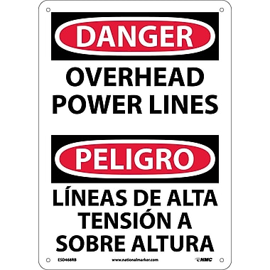 Danger, Overhead Power Lines, Bilingual, 14X10, Rigid Plastic