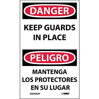 Labels - Danger, Keep Guards In Place Bilingual, 5X3, Adhesive Vinyl, 5/Pk