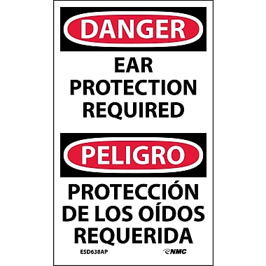 Labels - Danger, Ear Protection Required Bilingual, 5X3, Adhesive Vinyl, 5/Pk