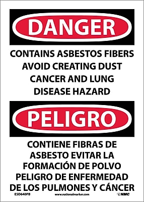 Danger, Contains Asbestos Fibers Avoid Creating Dust Cancer And Lung Disease Hazard Bilingual, 14X10, Adhesive Vinyl