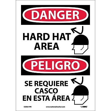Danger, Hard Hat Area, Graphic, Bilingual, 14X10, Adhesive Vinyl