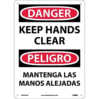 Danger, Keep Hands Clear, Bilingual, 14X10, .040 Aluminum