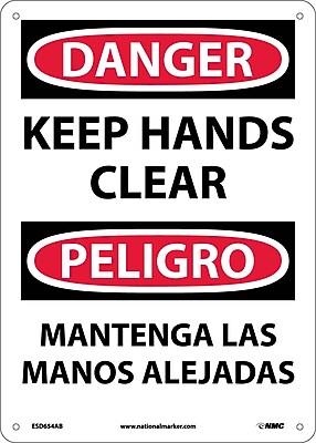 Danger, Keep Hands Clear, Bilingual, 14X10, .040 Aluminum