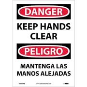 Danger, Keep Hands Clear, Bilingual, 14X10, Adhesive Vinyl