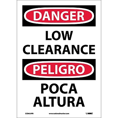 Danger, Low Clearance, Bilingual, 14X10, Adhesive Vinyl