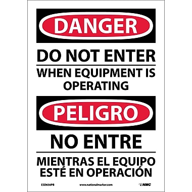 Danger, Do Not Enter When Equipment Is Operating, Bilingual, 14X10, Adhesive Vinyl