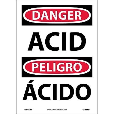 Danger, Acid, Bilingual, 14X10, Adhesive Vinyl