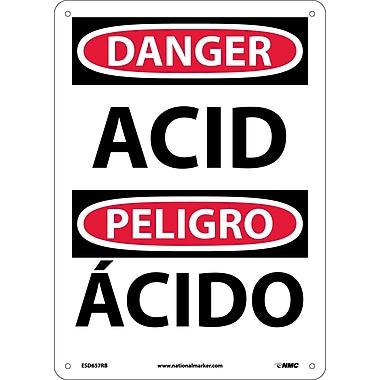 Danger, Acid, Bilingual, 14X10, Rigid Plastic