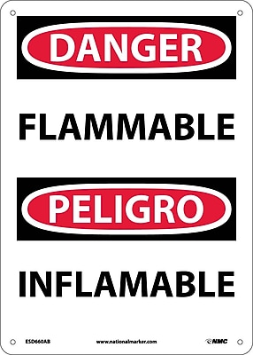 Danger, Flammable, Bilingual, 14X10, .040 Aluminum