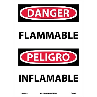 Danger, Flammable, Bilingual, 14X10, Adhesive Vinyl